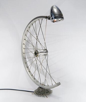 A bicycle wheel modified into a lamp