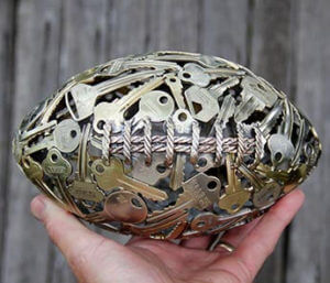 Keys converted into a football-shaped decoration