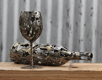 Keys converted into a wine-and-glass sculpture