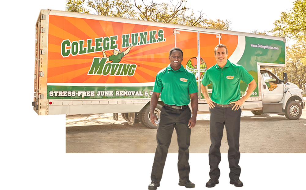 Two College HUNKS standing in front of a College HUNKS moving truck