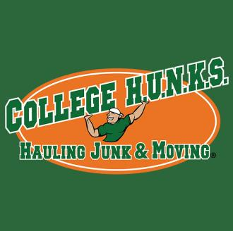 College HUNKS Hauling Junk & Moving logo on green background.