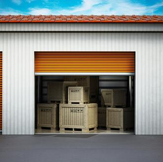 moving boxes in storage rental facility