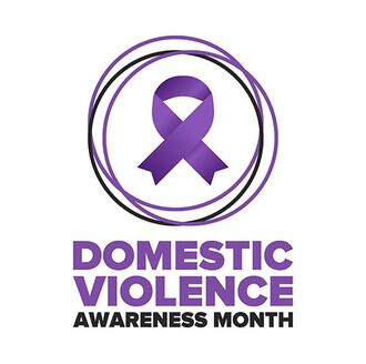 October is national domestic violence awareness month. Purple ribbon