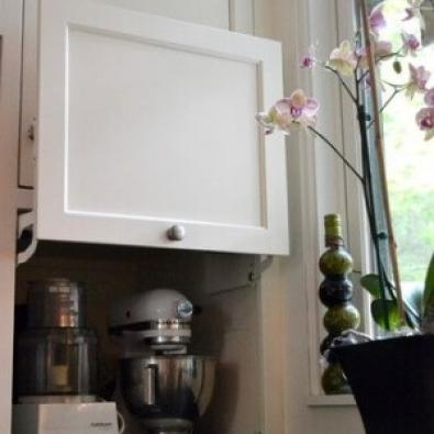Hidden cabinets storing one's appliances in the kitchen