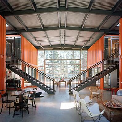 interior of a shipping container home