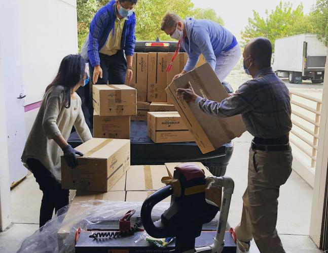 Hauling boxes into the pick-up truck